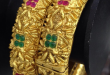 Square Cut Ruby Emerald 1 Gram Gold Bangles at Rs 1995/set | Gold .