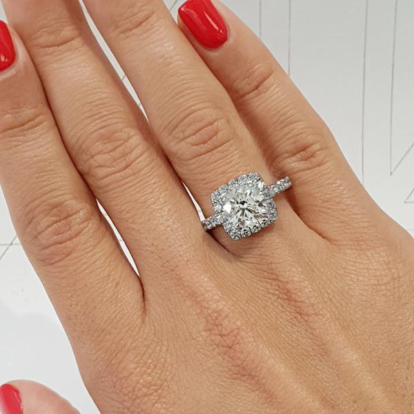 The Sienna Engagement Ring - 2 Carat D Color VS1 Clarity Cushion .