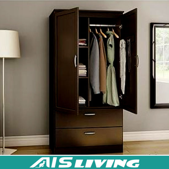 2 Door Steel Bedroom Wardrobe Cabinet with Inside Drawer Design .