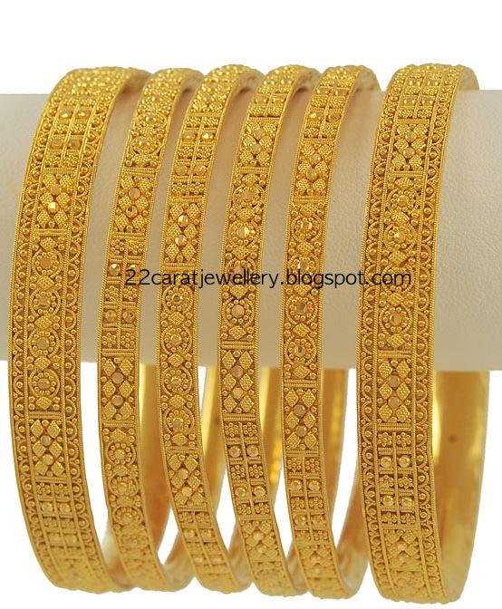 Gold Bangles Set From Meena Jewellery - Jewellery Desig