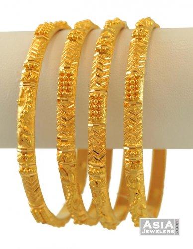 22K Gold Bangles Set - AjBa55006 - 22K Indian Gold Bangles (set of .