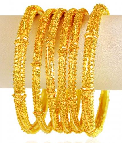 22 Karat Gold Bangles Set 6PCs - AsBa61644 - 22k gold bangles set .