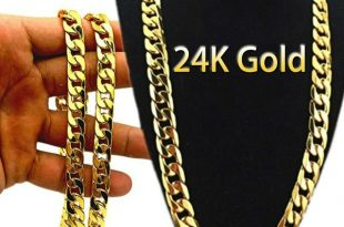 24k Gold Long Chain Necklace Men Jewelry Brand Gothic Gold Color .