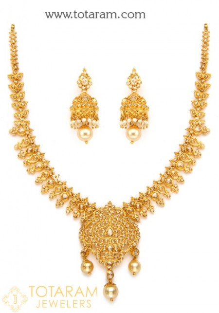 Gold necklace set in 25 grams - 22K Gold Indian Jewelry in U