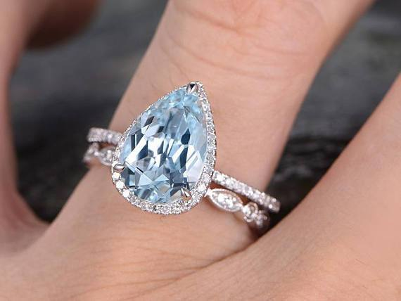 3 Carat Huge pear cut Aquamarine and Diamond Wedding Set with art .