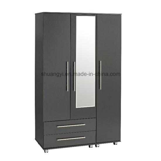 3 Door Wardrobe Closet Design with Mirror - China Wooden Wardrobe .
