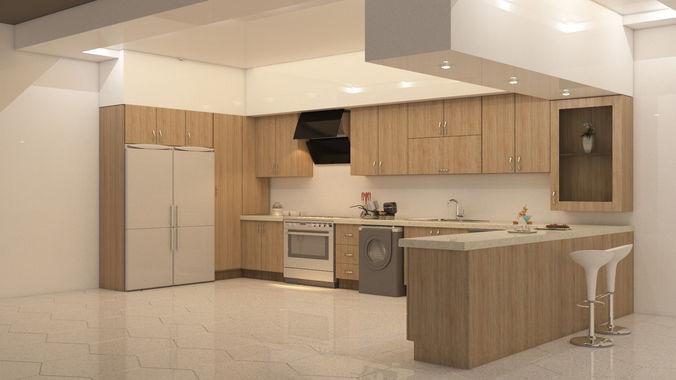 kitchen design 3D asset | CGTrad
