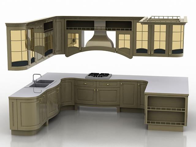 U shaped kitchen design 3d model - CadN