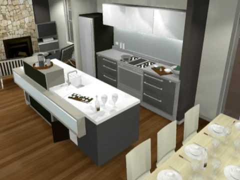 Small Modern Kitchen Design 3D animation by Minosa - YouTu