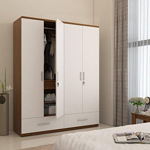 Hekami interiors 4 Doors Wardrobe (White high Gloss + Walnut .
