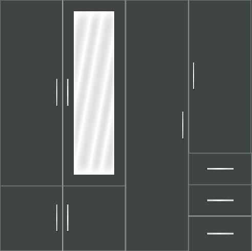 4 Door Wardrobe Design with external drawers and mirrors| | Zenteri