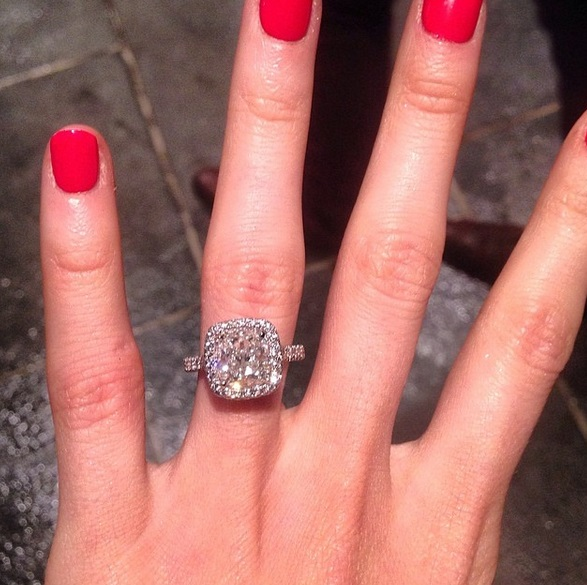 Katherine Webb's Platinum 5 Carat Cushion Cut Diamond Ri