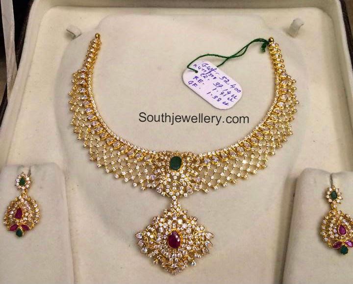 CZ Stones Necklace Set - Indian Jewellery Desig