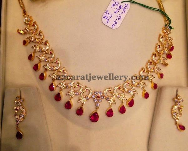 50 Grams unique CZ Peacock Set - Jewellery Desig