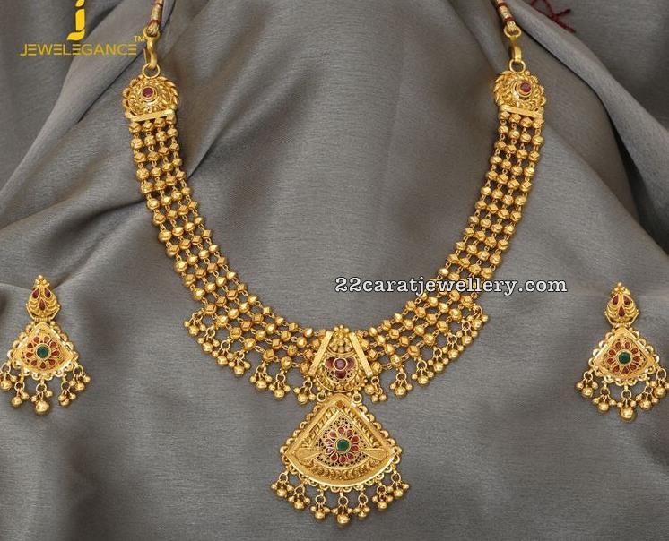 50grams Gold Balls Necklace - Jewellery Desig