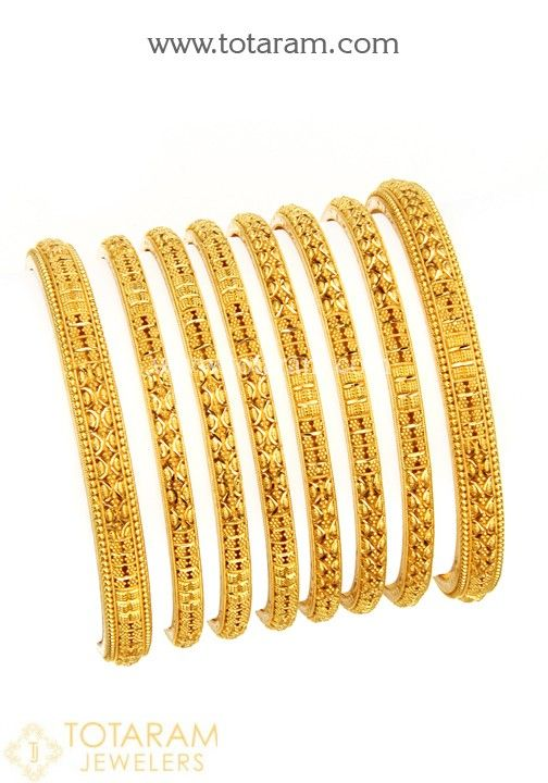 22K Gold Bangles - Set of 8 (4 Pair) | Gold bangle set, Gold .