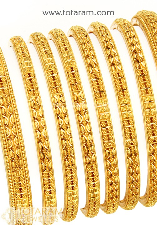22K Gold Bangles - Set of 8 (4 Pair) - 235-GBL1124 in 127.250 Gra