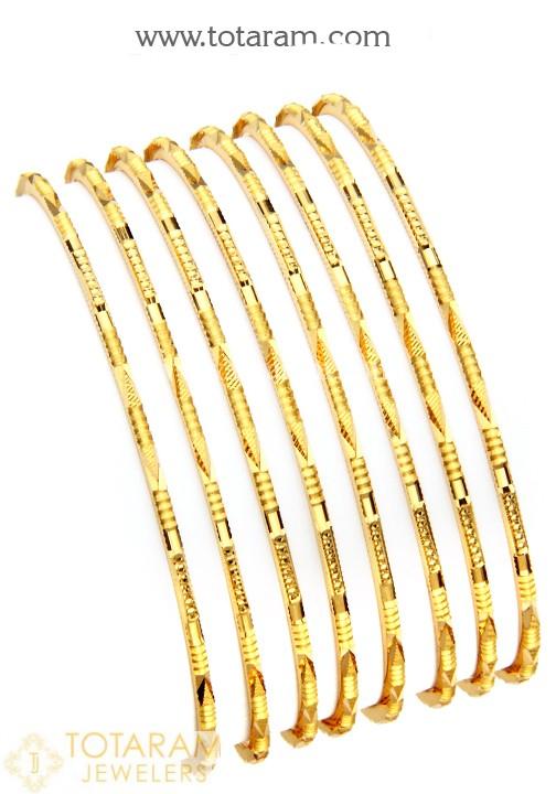 22K Gold Bangles - Set of 8 (4 Pair) - 235-GBL925 in 67.900 Gra