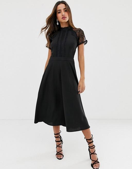 Liquorish a line lace detail midi dress | AS