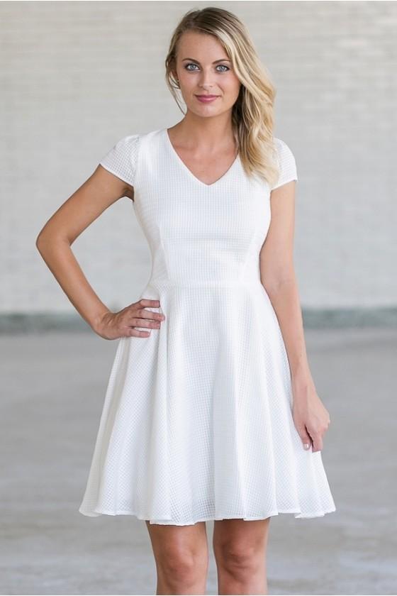 Cute White A-Line Dress | White Summer Party Dress | White .