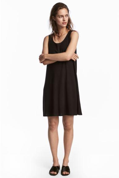 A-line jersey dress - Black - Ladies   H