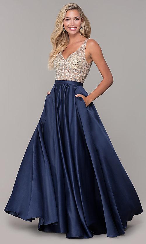 V-Neck Long A-Line Prom Dress with Pocke