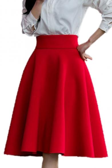 High Waist Plain Zipper Fly Midi A-Line Skirt - Beautifulhalo.c