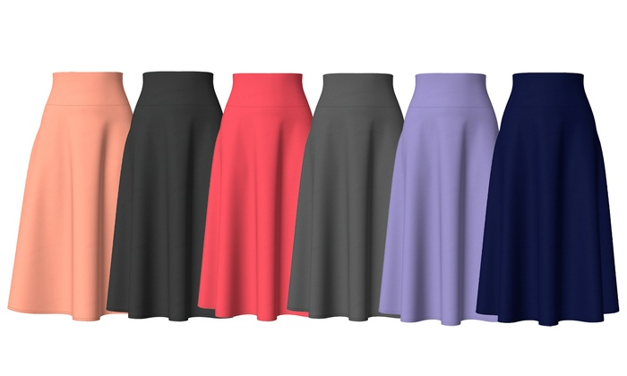 Up To 54% Off on Midi A-Line Skirts with Pockets | Groupon Goo