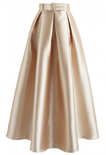 Luxurious Night Bowknot Pleated A-Line Skirt - Retro, Indie and .