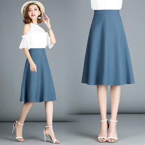 TingYiLi Autumn Elegant midi skirt Office Ladies High Waist A Line .