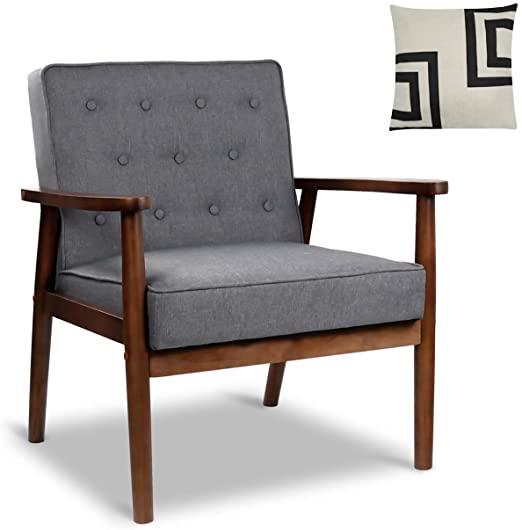 Amazon.com: Mid-Century Retro Modern Accent Chair Wooden Arm .