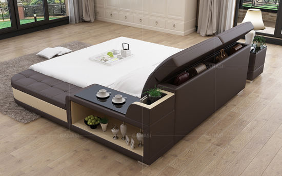 China King Size Loft Wood Double Bed Designs Adjustable Bed .