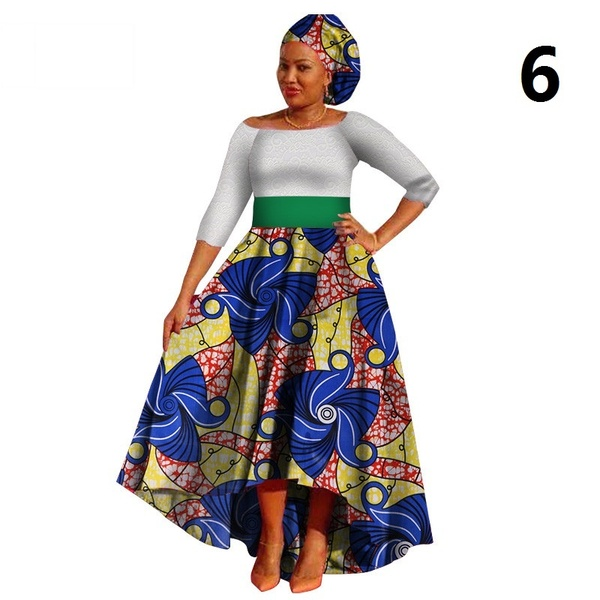 African Dresses for Women Dashiki Lace+Cotton Print fabric African .