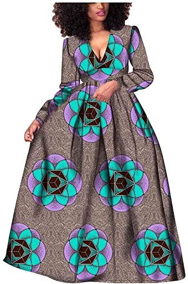 2019 African Dresses for Women Long Sleeve Wax Print Bazin Riche .