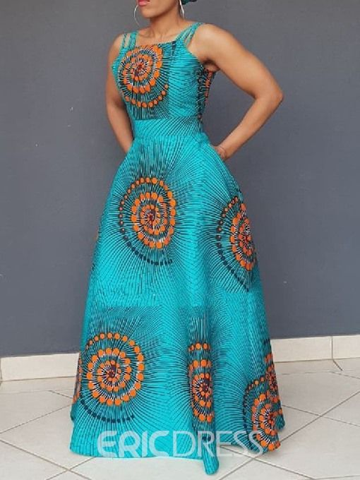 African Fashion Sleeveless Floor-Length Expansion Color Block .
