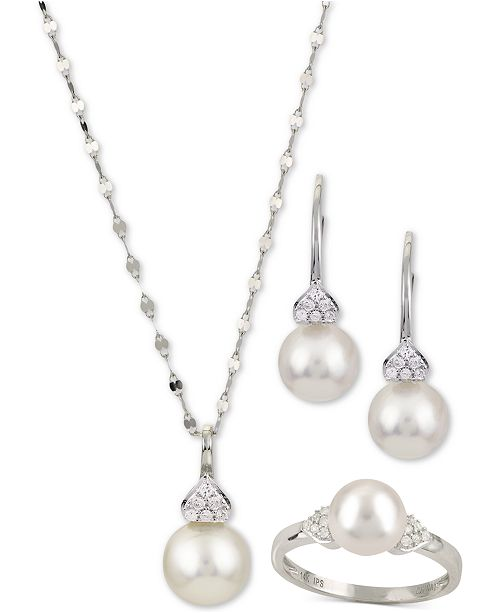 Macy's Cultured Akoya Pearl & Diamond Accent Jewelry Collection in .