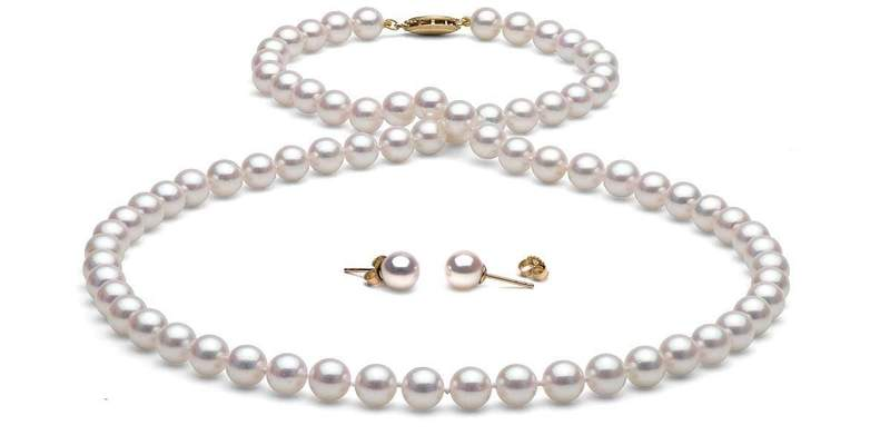 Akoya Pearl Necklace and Earrings: 6.5-7.0mm - Pearls of J