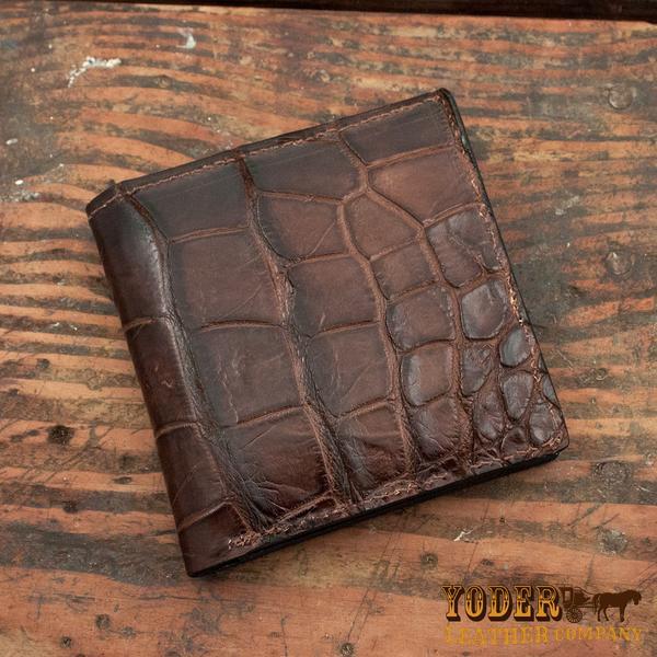 Brown Alligator Skin Jumbo Hipster Leather Wallet – Yoder Leather .