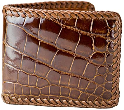 Hand Braided Cognac Alligator Wallet at Amazon Men's Clothing sto