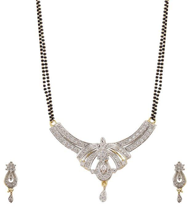 Youbella Designer American Diamond Mangalsutra Set with Chain: Buy .