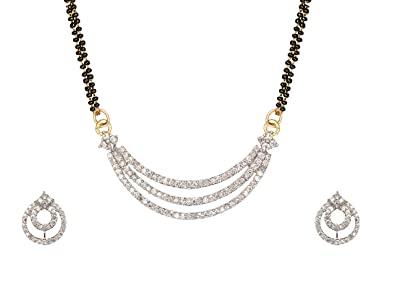 Buy Sitashi Gold Plated Ad American Diamond Mangalsutra & Earrings .