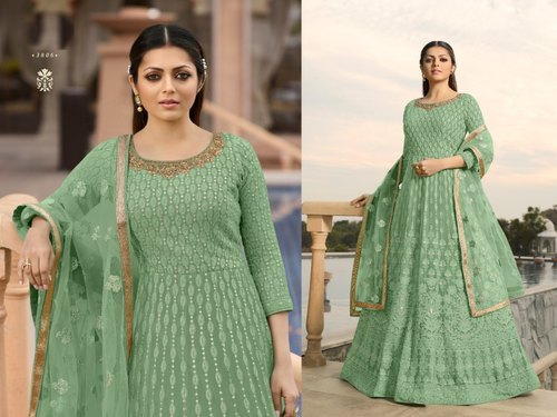 R Churidar Designer Heavy Embroidered Georgette Anarkali Suit, Rs .