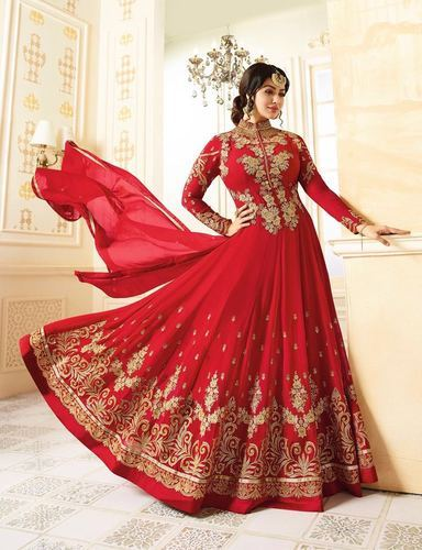 Georgette Semi Stitched Designer Anarkali Churidar Suit, Size: S .