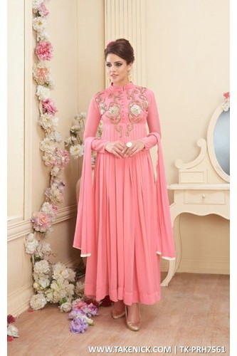 Designer Anarkali Churidar Semi Stitch Salwar Suit, सेमि .