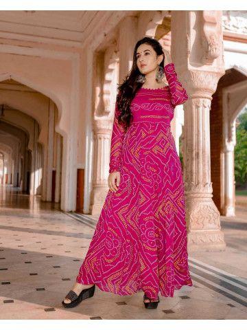 Banithani Bandhani Anarkali | Bandhani dress, Bandhini dress .