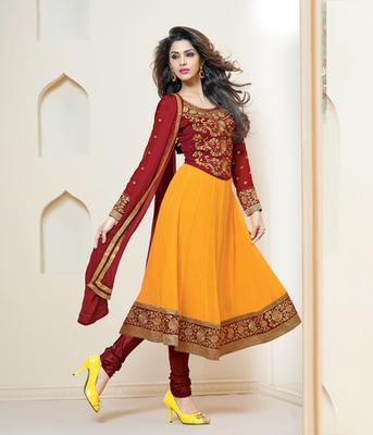 Delightful Maroon and Yellow Anarkali Salwar Suit - Mirchi Fashion .