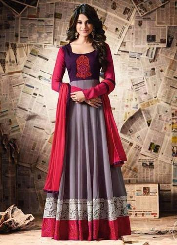 Heavy Grey And Red Fast Color Anarkali Salwar Suit at Rs 1695 .