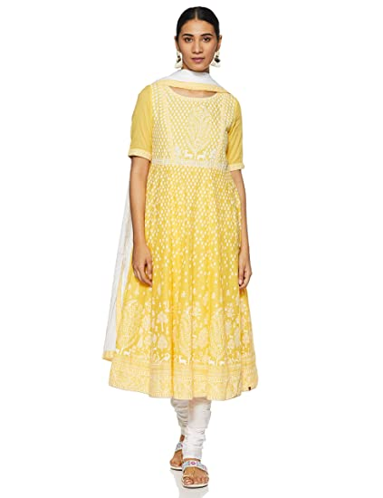 Buy BIBA Women's Cotton Anarkali Salwar Suit Set at Amazon.