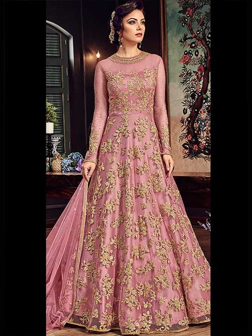 Pink and Gold Embroidered Branded Premium Net Anarkali Salwar Suit .