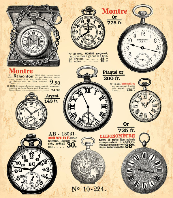 Old Clock design elements free downlo